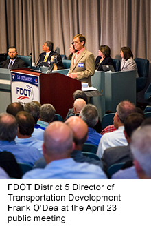 FDOT's Frank O'Dea at the April 23 public meeting.