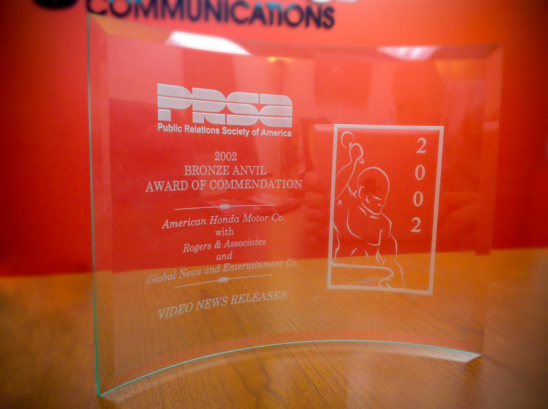 PRSA's 2002 Bronze Anvil Award