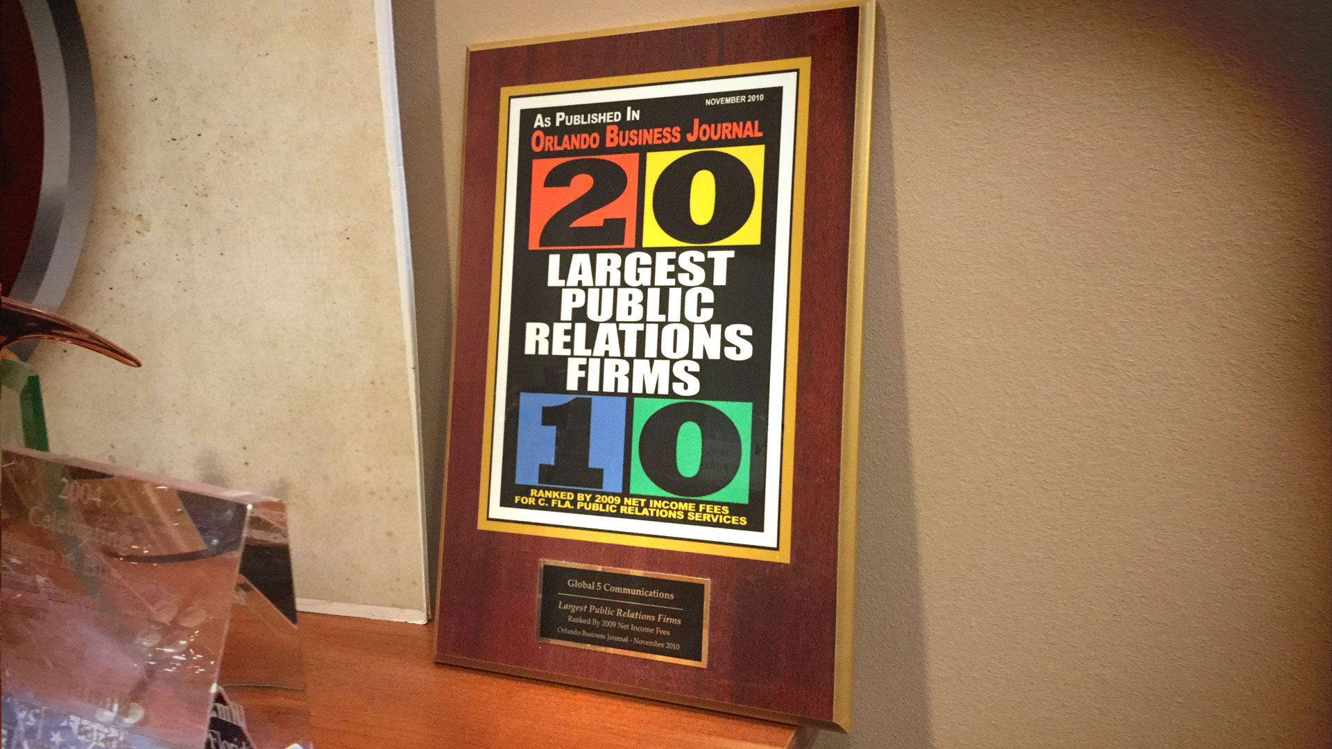 Orlando Business Journal Recognition as Second Largest Public Relations Firm for 2010